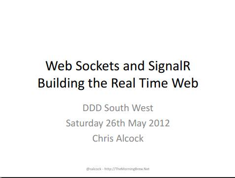 WebSockets and SignalR Slide Cover - DDDSW 4